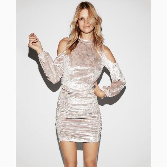 NWT- Express Crushed Velvet Cold Shoulder Dress